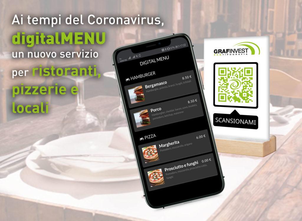 Ai tempi del Coronavirus, digitalMENU nuovo servizio per ristoranti e locali